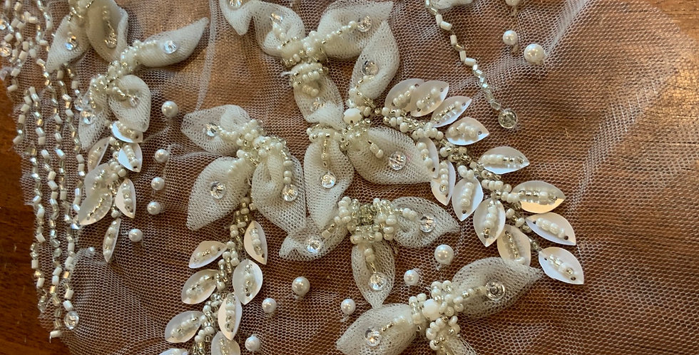 Ivory 3d Beaded Tulle Piece #L20