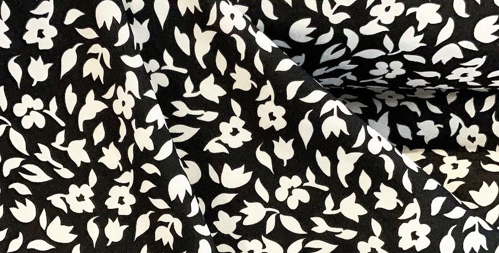 Monochrome Flowers Polyester Dupion...