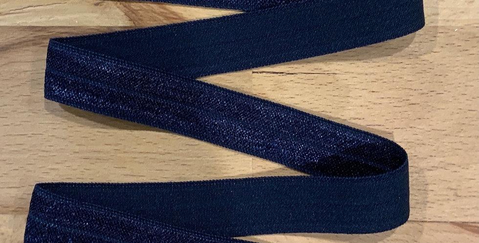 Dark Navy 15mm Satin Foldover Elastic