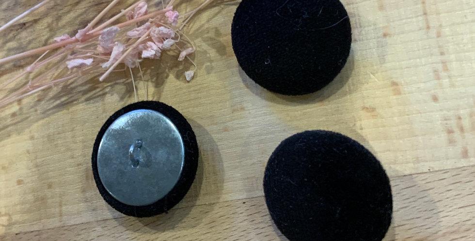 3 Black Velvet Cover Buttons