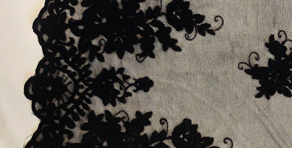 Festival Black Embroidered Mesh Lace...