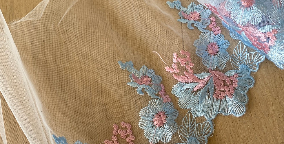 sky embroidered mesh 1.5mtr piece