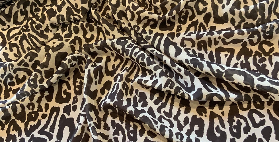 Neutral Leopard Polyester Georgette...