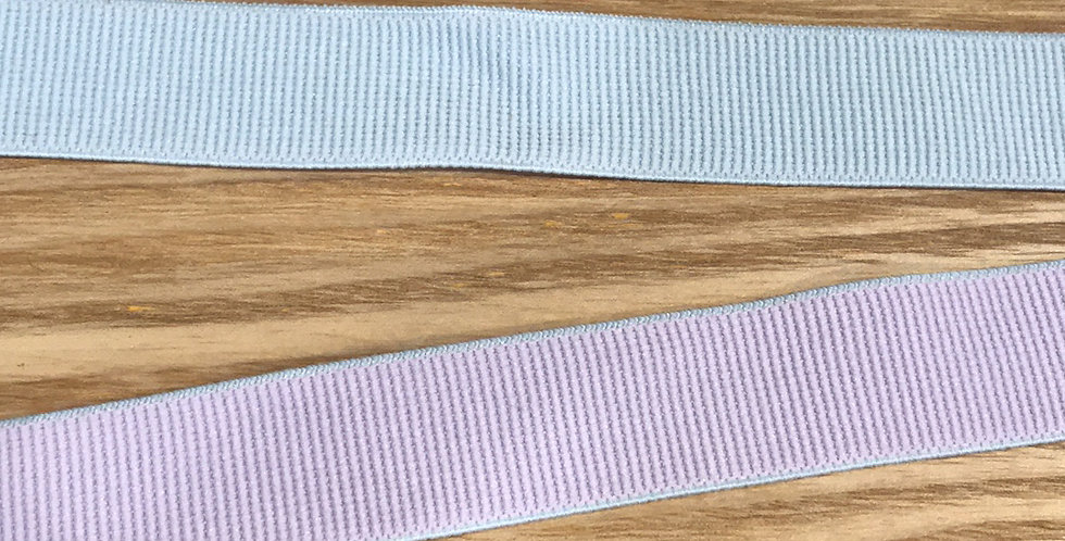 Blue and mauve reversible elastic