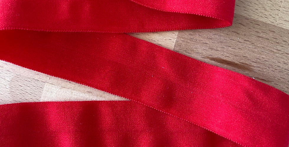 Red matte 25mm fold over elastic