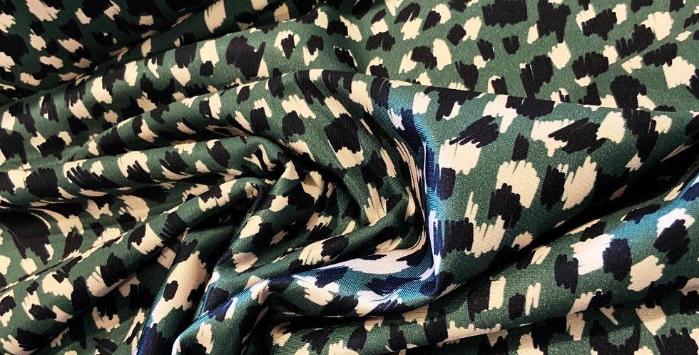 Khaki Leopard Low Sheen Lycra
