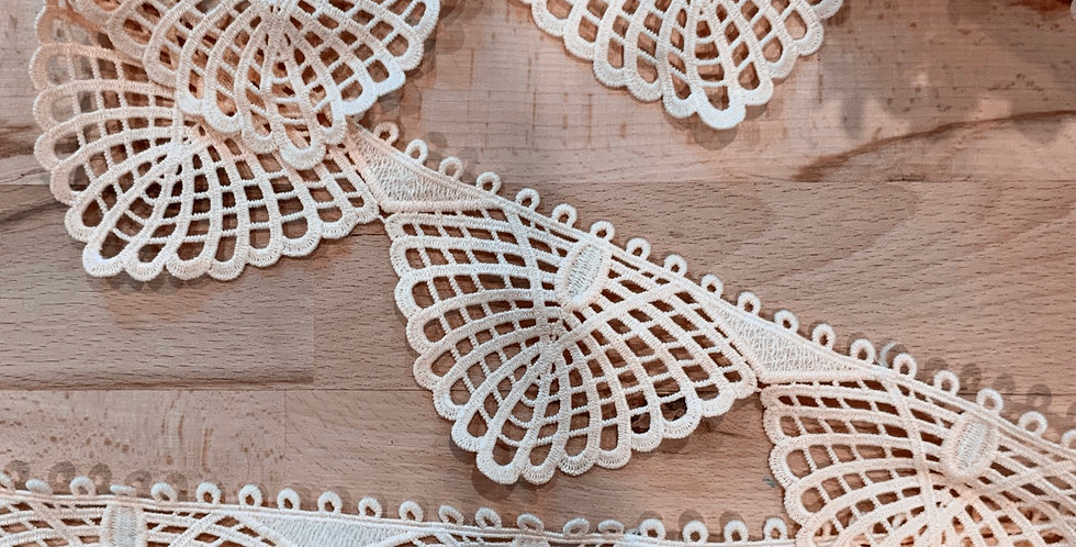 Peach Hand Dyed Butterfly Edge Lace...