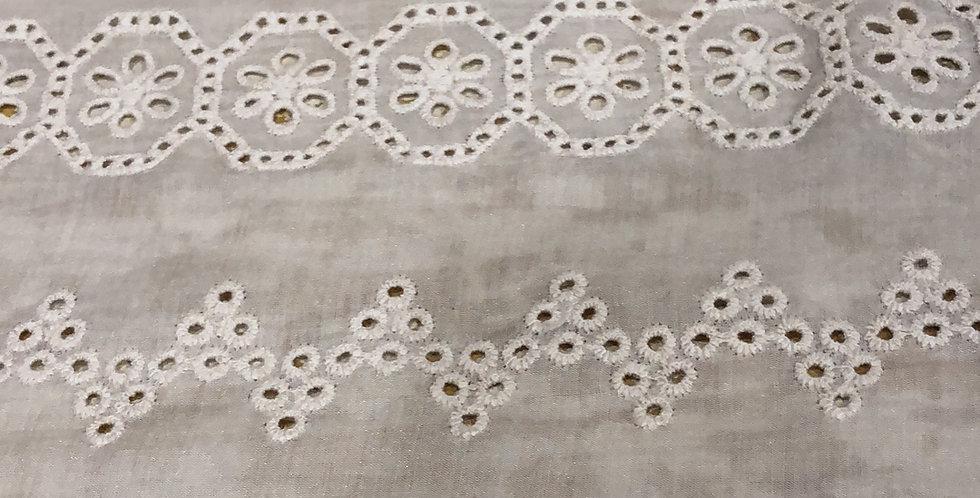 Gracie embroidered silk cotton trim latte