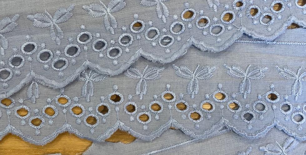 Freida embroidered trim cornflower