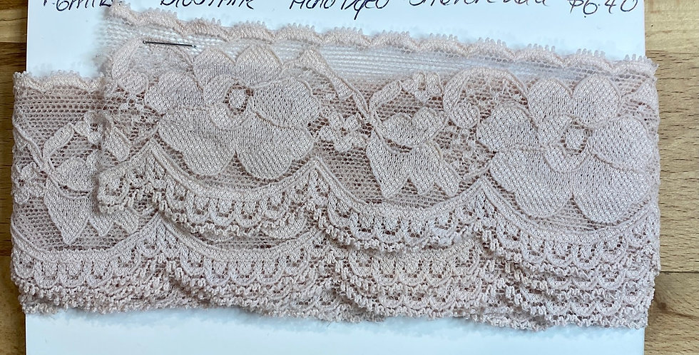 Blush Pink Hand Dyed Stretch Lace 1.6mtrs