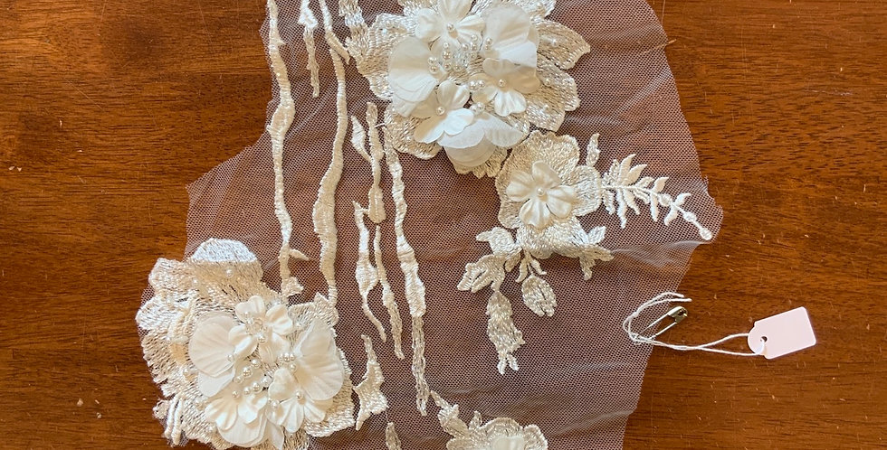 Ivory 3d Beaded Tulle Piece #L14