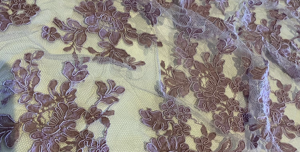 Deep Lilac Hand Dyed Corded Lace Piece #4036