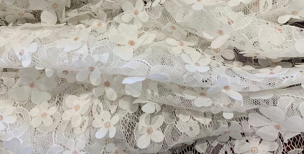 Peach Daisy 3D Petal Embroidered Lace...