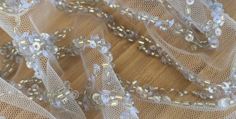 Silver beaded tulle piece A2
