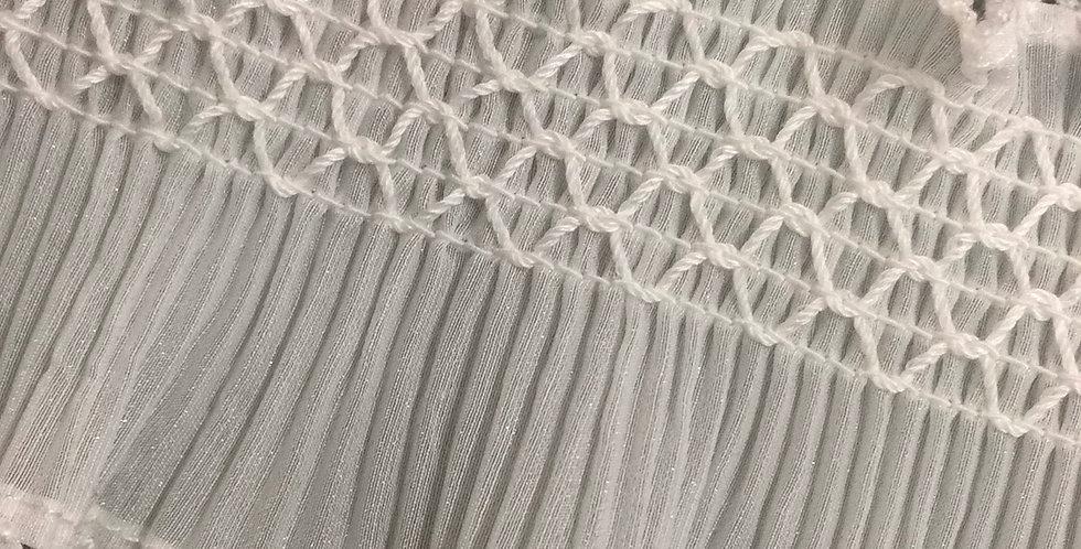 Victoriana soft white pleated smocked Stretch trim