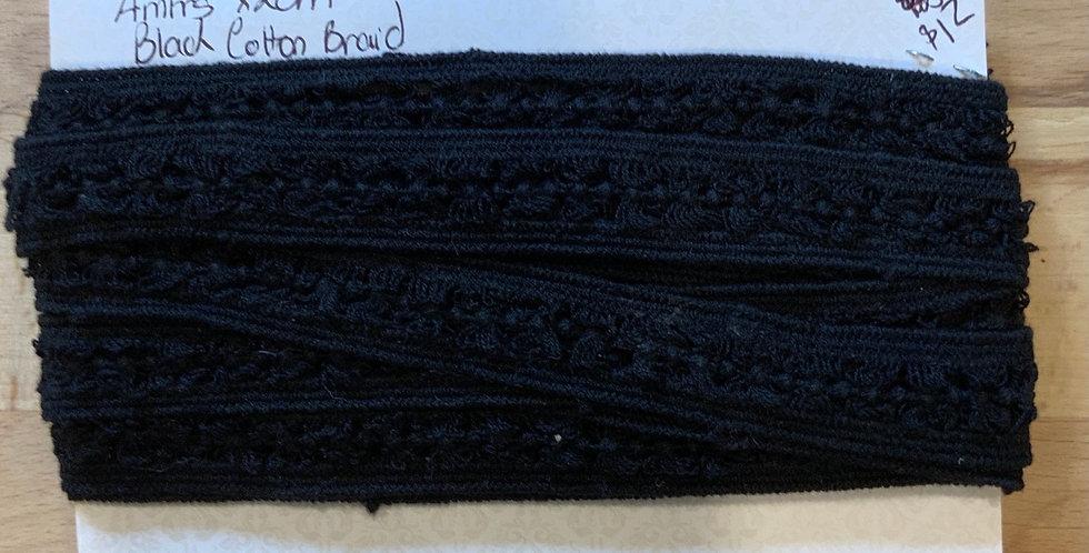 Black Cotton Crochet Remnant