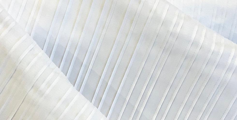 White Pintucks Stretch Polyester Shirting...