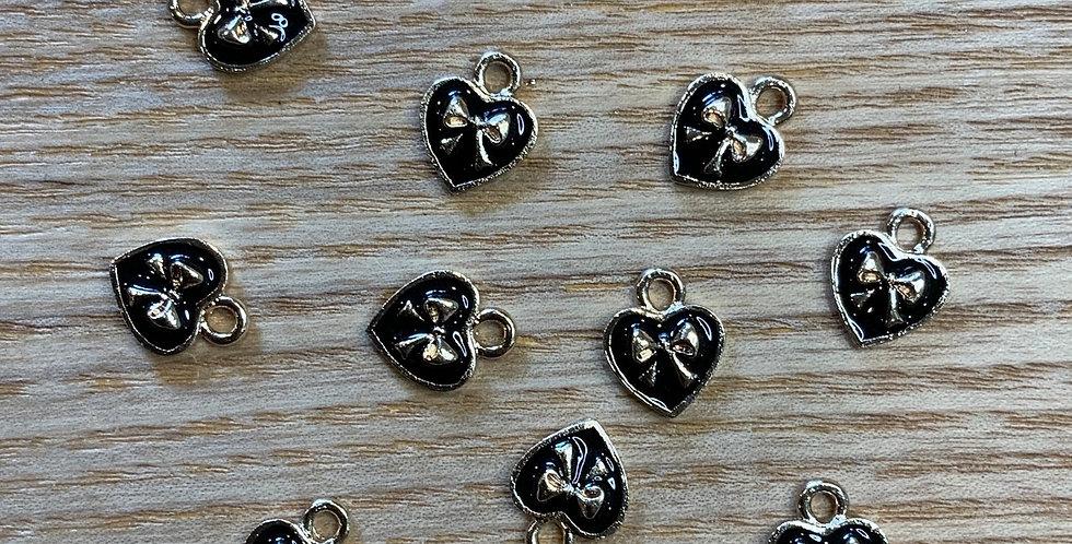 Mini Bow Hearts Black Enamel Charm...