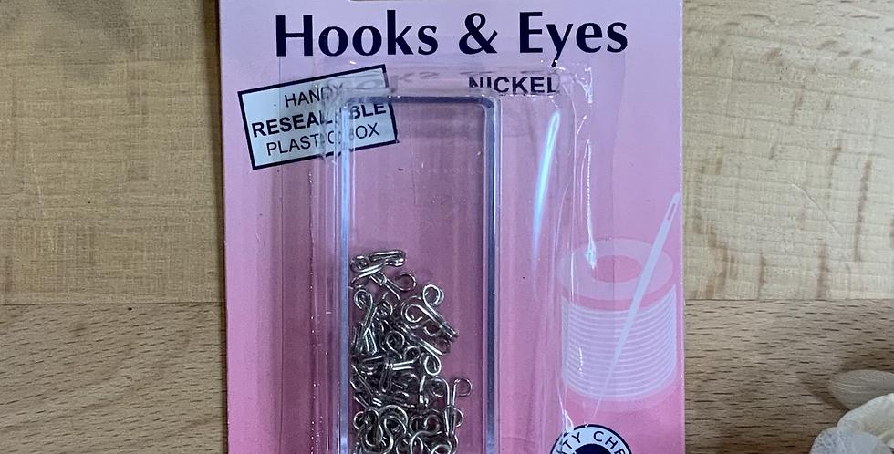 Size 2 Silver Hooks & Eyes 14 sets