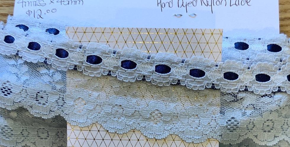Blue Hand Dyed Nylon Lace...