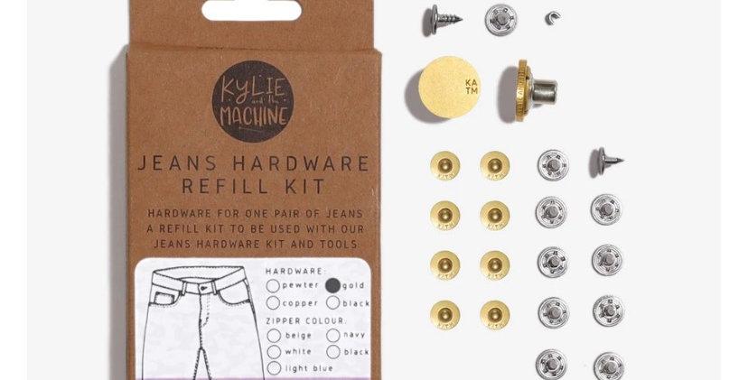 KATM jeans hardware refill kit MATTE GOLD 19cm zip