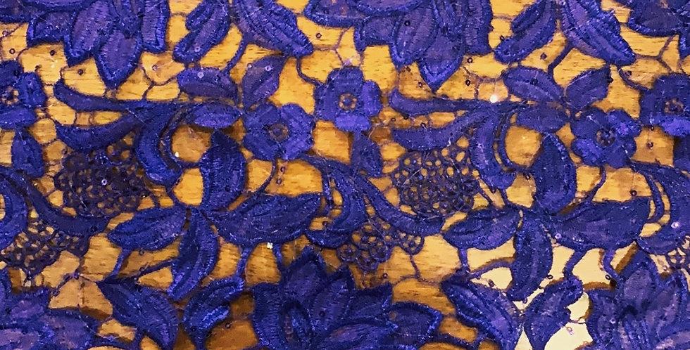 Purple Sequin Guipure Lace...