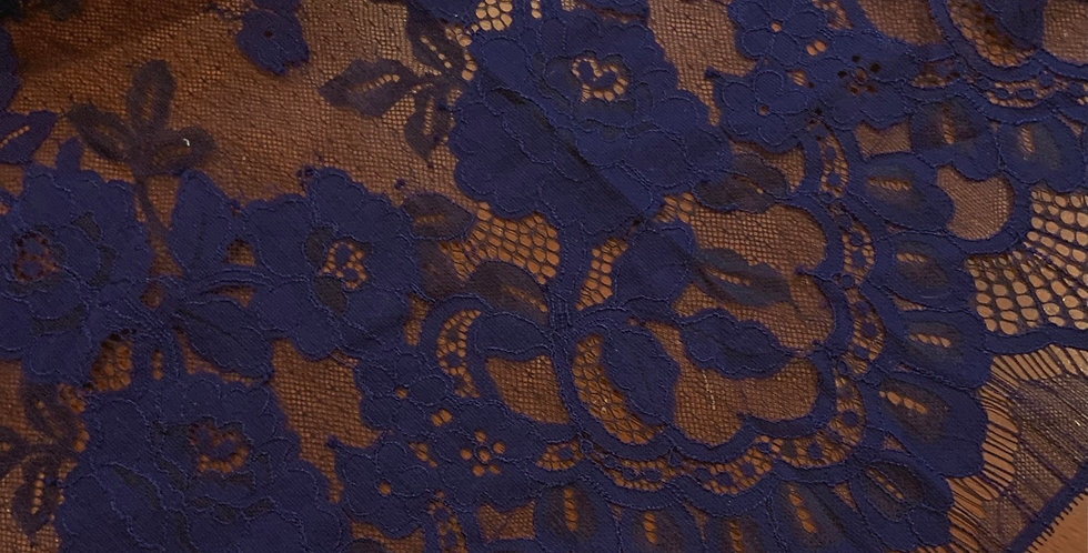 Navy Eyelash Lace Remnant