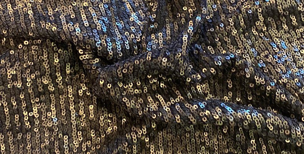 khaki small sequin mesh remnant