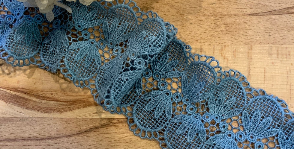 Esmarelda Dark Wedgewood hand Dyed Crochet Lace...