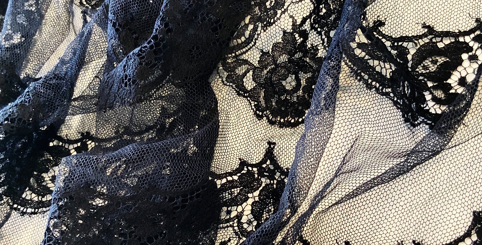 Black Scallop French Lace Off Cut Piece #3045...