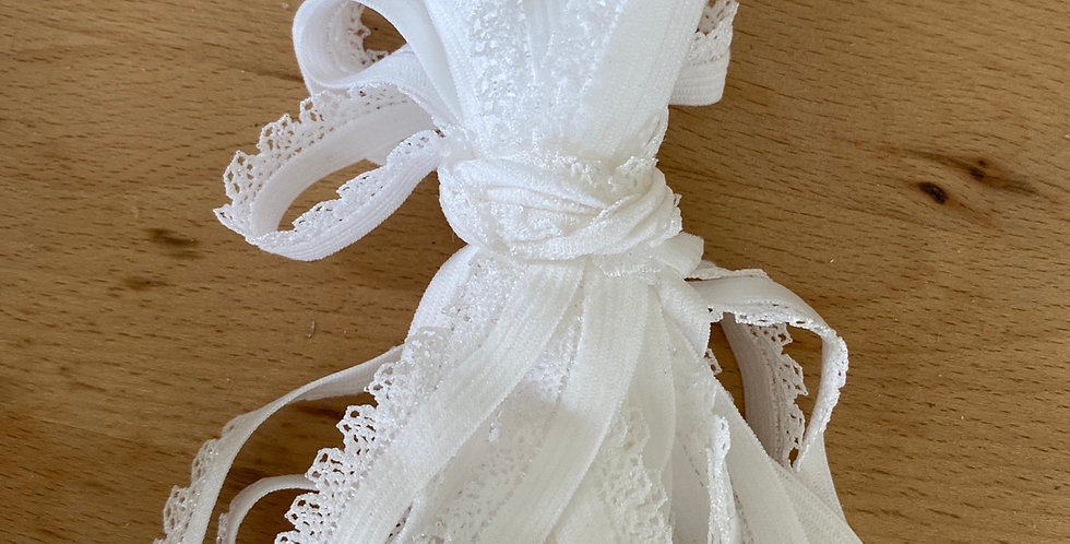 5 metres white crown edge picot