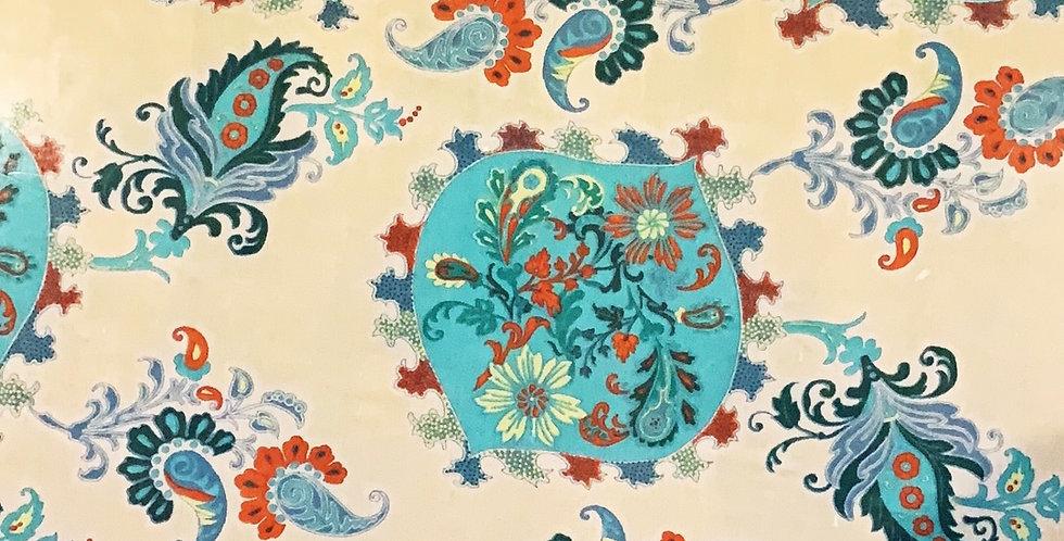 Aqua Paisley Silk Chiffon ...