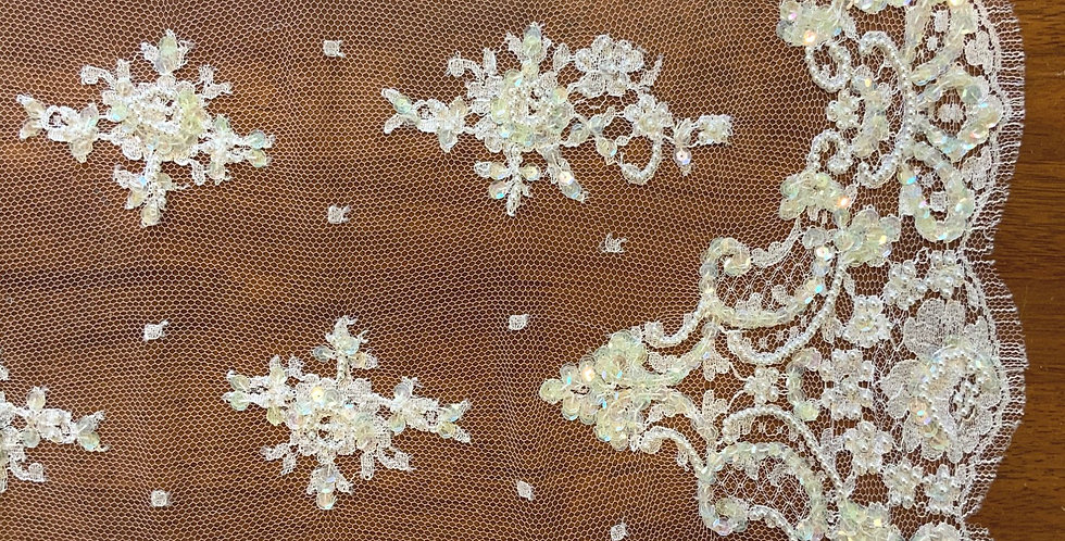 Anne White Fine Beaded Chantilly Lace...