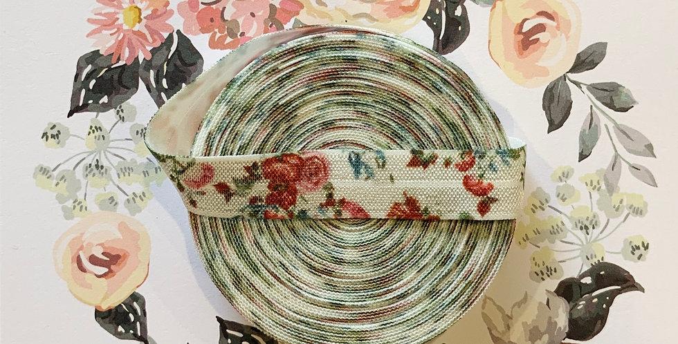 Wild Roses White Foldover Elastic 6mtr Roll...