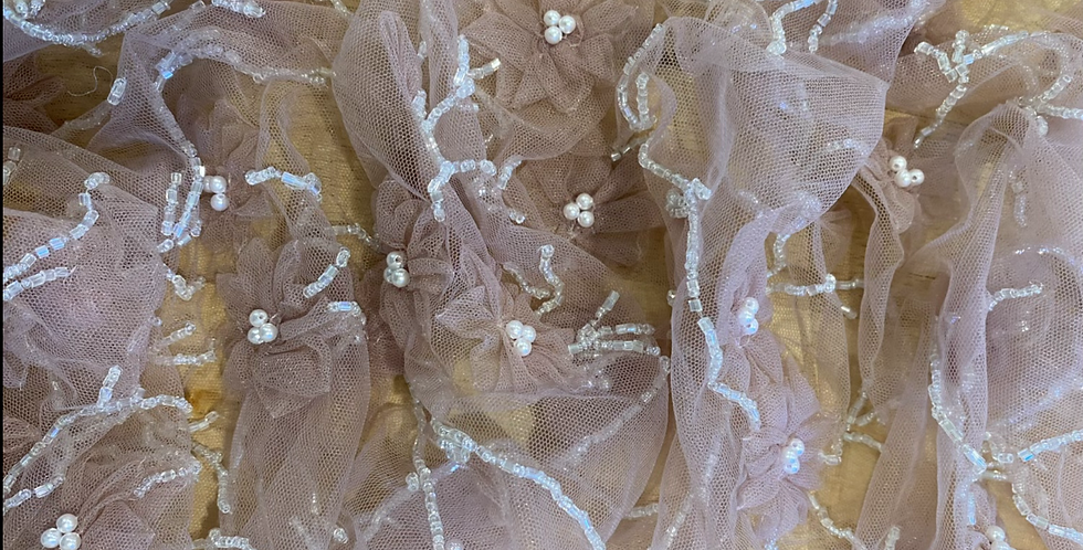 Dusty pink 3D tulle flower piece 18