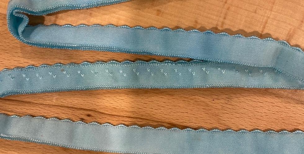 mottled aqua scallop edge foldover elastic
