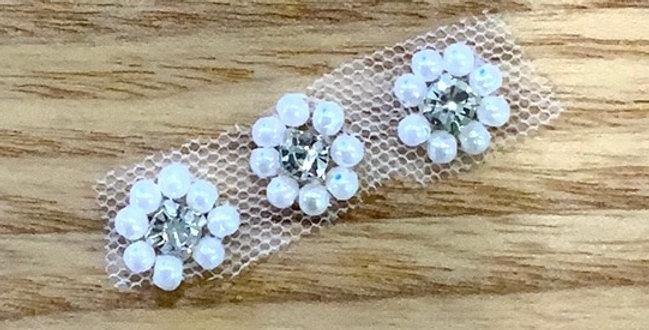 Mini Diamonte Pearl Flowers X 3 Motif....