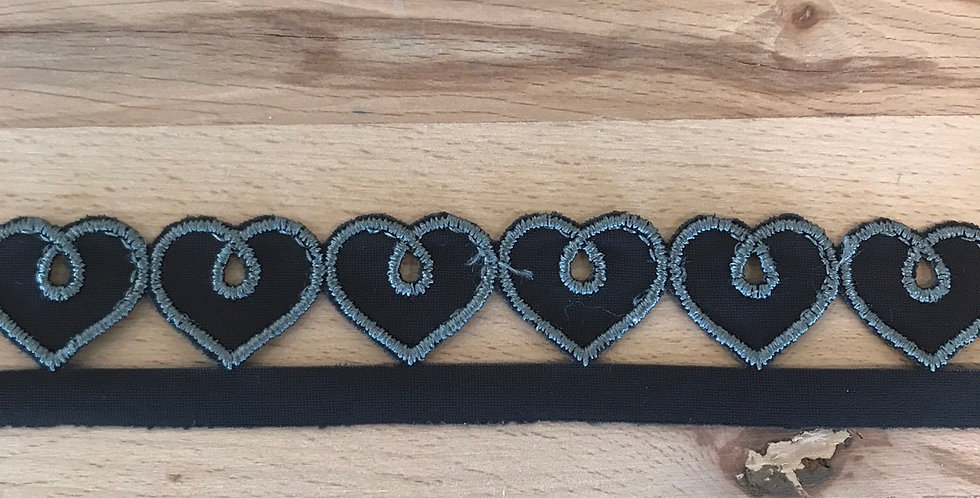Charcoal Charcoal Embroidered Hearts Trim...