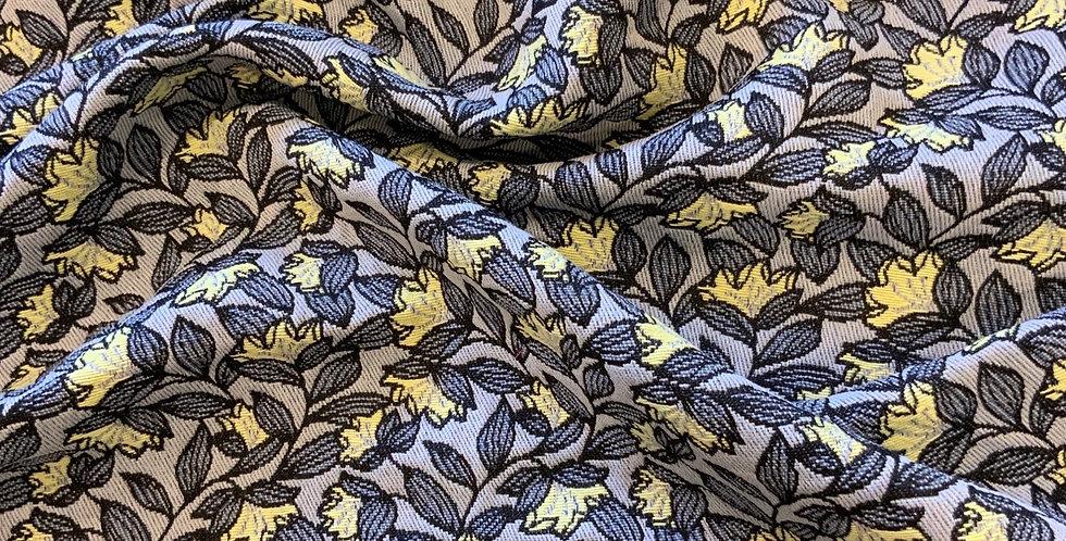 Lemon Floral Stretch Brocade Remnant...