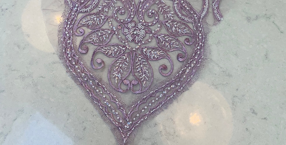 Lilac Hand Dyed Beaded Lace Off Cut #717...