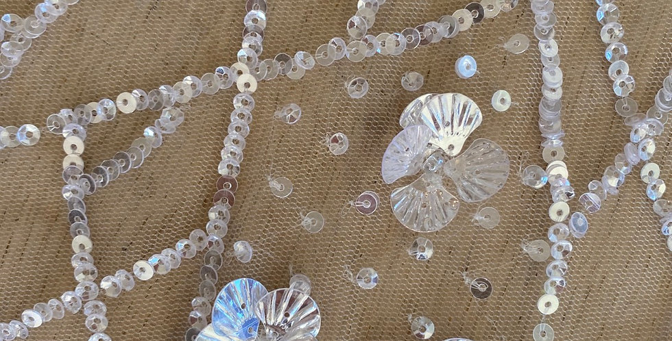White sequin flower tulle piece A12