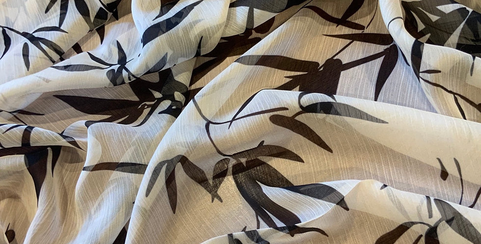 Cream Bamboo Leaves Crinkle Polyester Chiffon...