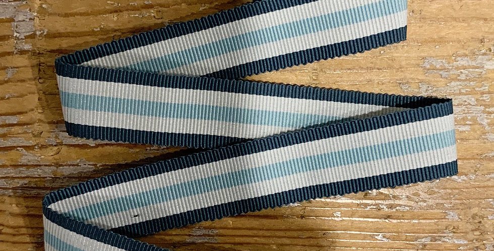 Riviera Grey Striped Grosgrain Ribbon ...