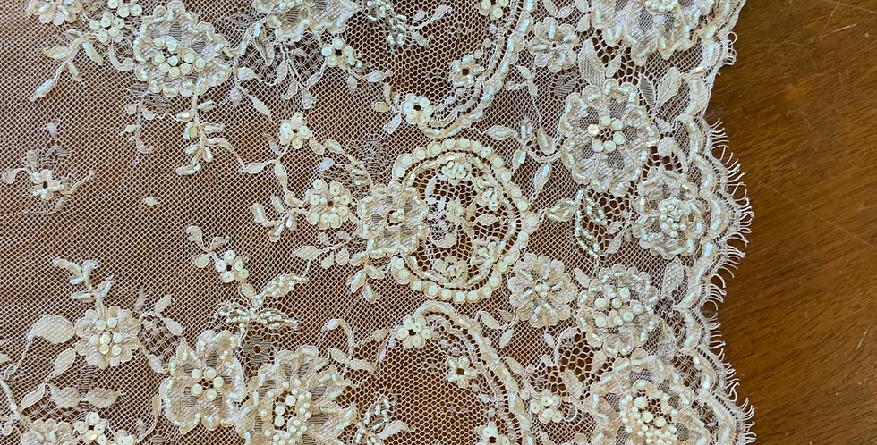 Dusty vintage Pink Hand Dyed Bridal Lace Piece...#508