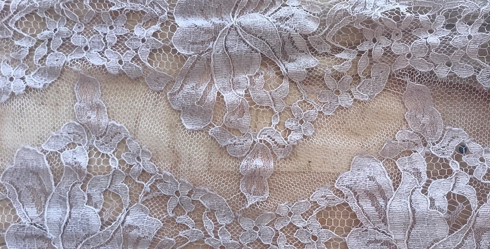 Mocha hand dyed French chantilly lace