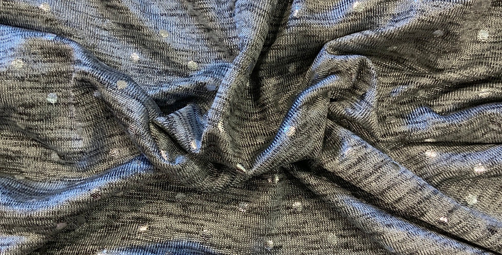 Grey Marle Foils Spot Polyester Knit Remnant