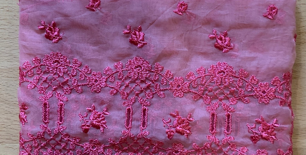 Raspberry  Hand Dyed Vintage Embroidered Lace Remnant
