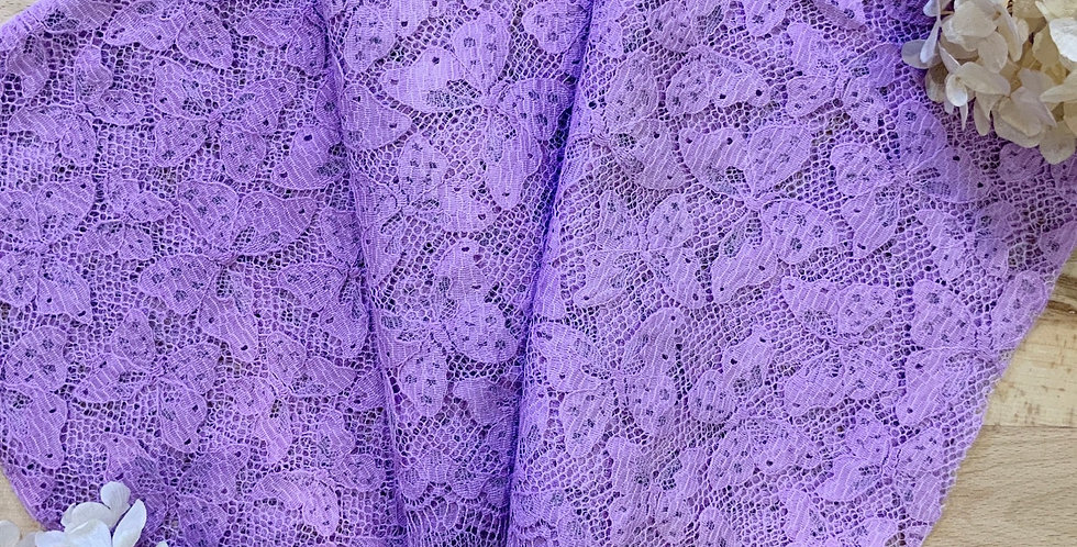 Deep Lilac Hand Dyed French Butterfly 50cm Lace Piece...