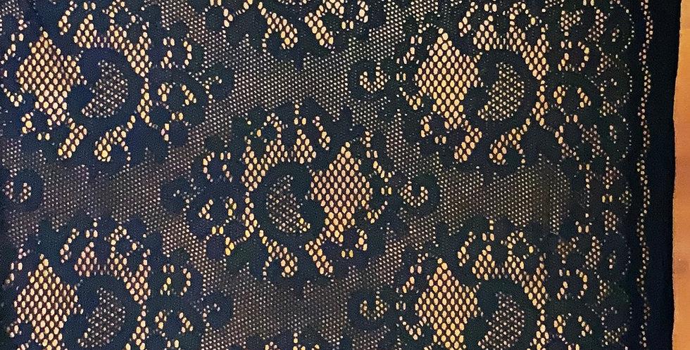 Black Cotton Stretch Lace....
