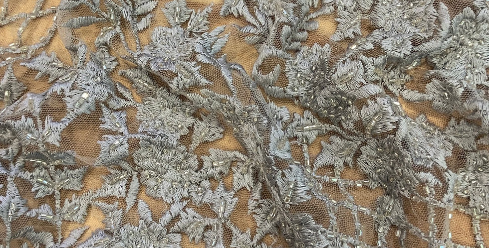 Dusty Grey Hand Dyed Beaded Lace Off Cut #9050